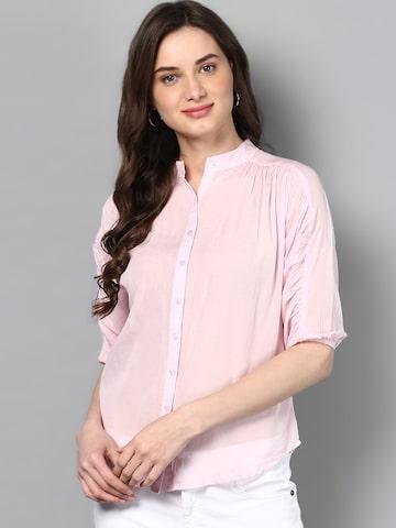 STREET 9 Women Pink Regular Fit Solid Casual Shirt STREET 9 Shirts at myntra