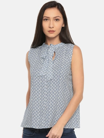 Pepe Jeans Women White Printed A-Line Top Pepe Jeans Tops at myntra