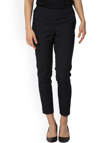 Van Heusen Woman Women Black Regular Fit Striped Regular Trousers Van Heusen Woman Trousers at myntra