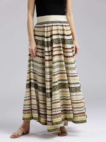 W Off-White & Black Printed Maxi Flared Skirt W Skirts at myntra