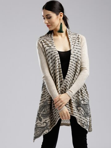 W Beige & Black Printed Open Front Longline Shrug W Shrug at myntra