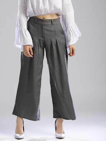 W Women Grey Regular Fit Solid Parallel Trousers W Trousers at myntra