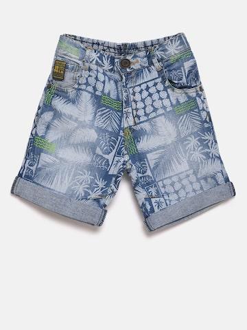 Little Kangaroos Boys Blue & Grey Printed Regular Fit Denim Shorts Little Kangaroos Shorts at myntra