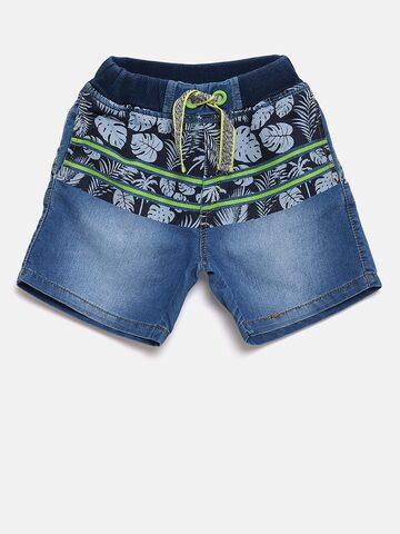 Little Kangaroos Boys Blue Printed Regular Fit Denim Shorts Little Kangaroos Shorts at myntra
