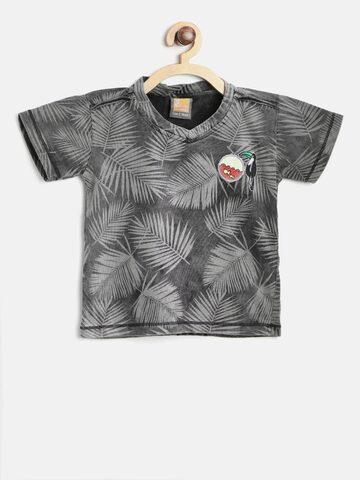 Little Kangaroos Boys Grey Printed V-Neck T-shirt Little Kangaroos Tshirts at myntra
