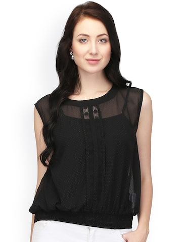I AM FOR YOU Women Black Solid Sheer Top I AM FOR YOU Tops at myntra
