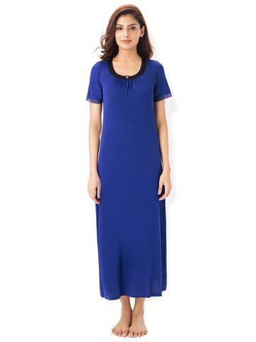 PrettySecrets Navy Blue Solid Nightdress PrettySecrets Nightdress at myntra
