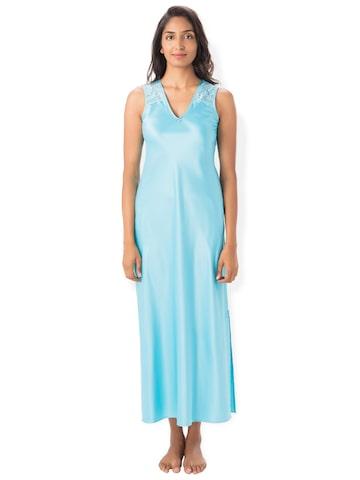 PrettySecrets Blue Solid Nightdress PrettySecrets Nightdress at myntra