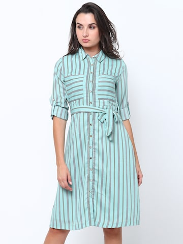 Tokyo Talkies Women Green Striped Shirt Dress Tokyo Talkies Dresses at myntra