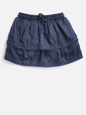 Gini and Jony Girls Navy Blue Layered A-Line Skirt Gini and Jony Skirts at myntra