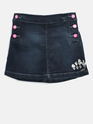 Palm Tree Girls Navy Washed Denim A-Line Skirt Palm Tree Skirts at myntra