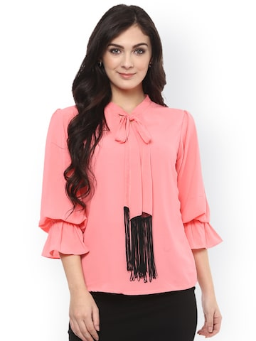 Pannkh Women Peach-Coloured Solid Blouson Top Pannkh Tops at myntra