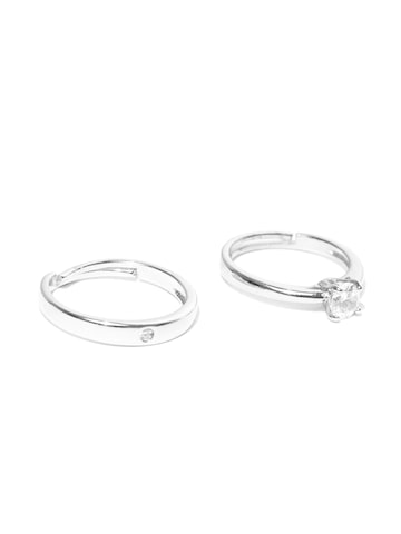 Peora Silver-Toned Rhodium-Plated Stone-Studded Couple Ring Set Peora Ring at myntra