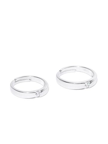 Peora Silver-Toned Rhodium-Plated CZ Stone-Studded Couple Ring Set Peora Ring at myntra