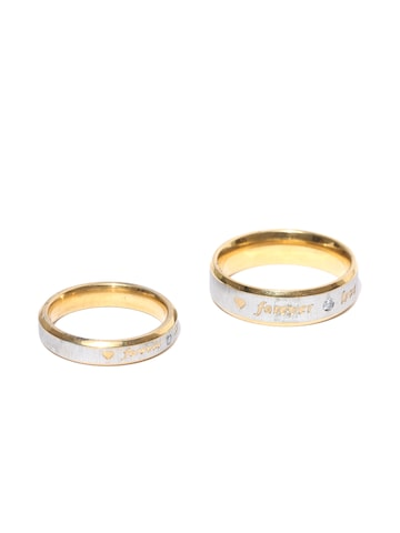 Peora Silver-Toned Gold-Plated Engraved CZ Stone-Studded Couple Ring Set Peora Ring at myntra
