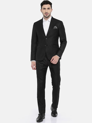 V Dot Men Black Solid Skinny Fit Single-Breasted Formal Suit V Dot Suits at myntra
