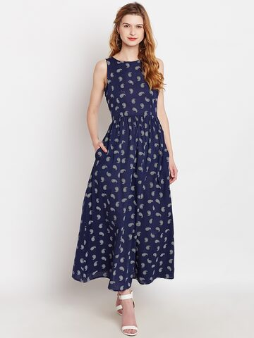 Nun Women Navy Blue Printed Fit and Flare Dress Nun Dresses at myntra