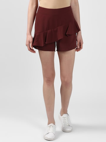Nun Women Maroon Solid Slim Fit Hot Pants Nun Shorts at myntra