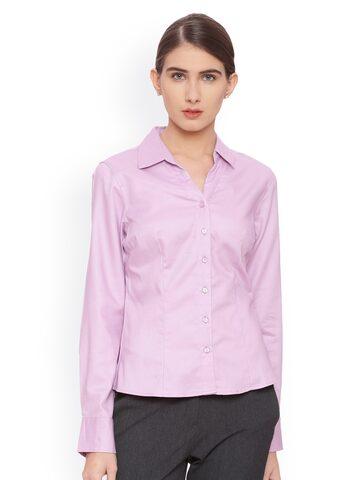 Van Heusen Woman Women Purple Regular Fit Solid Formal Shirt Van Heusen Woman Shirts at myntra