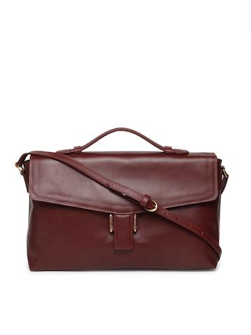 Hidesign Maroon Solid Satchel with Sling Strap Hidesign Handbags at myntra