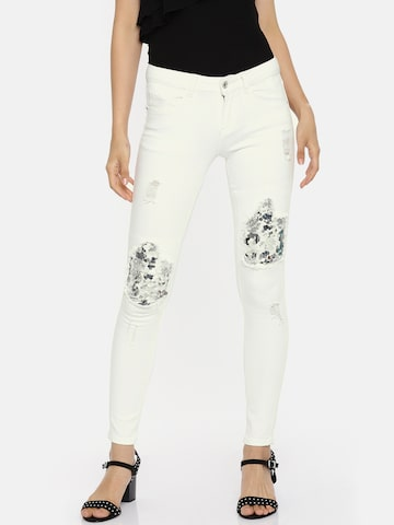 Deal Jeans Women White Skinny Fit Mid-Rise Mildly Distressed Embellished Stretchable Jeans Deal Jeans Jeans at myntra