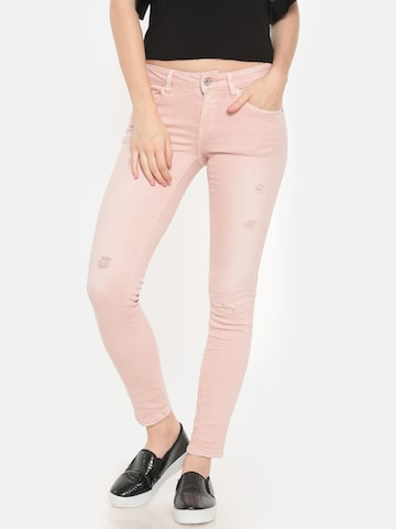 Deal Jeans Women Pink Skinny Fit Mid-Rise Low Distress Jeans Deal Jeans Jeans at myntra