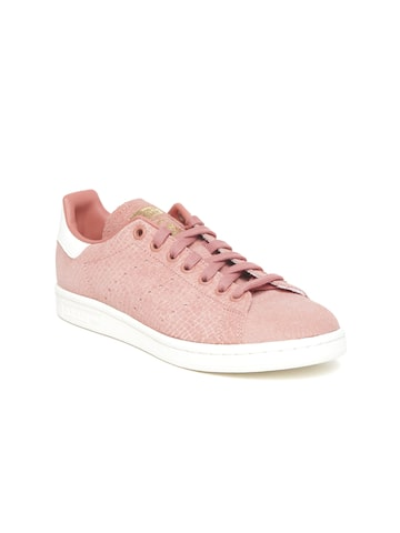 Adidas Originals Women Dusty Pink STAN SMITH Leather Textured Sneakers Adidas Originals Casual Shoes at myntra