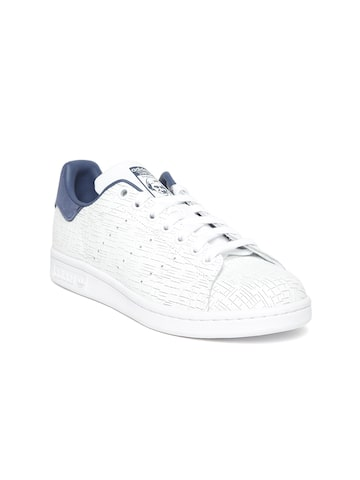 Adidas Originals Women White STAN SMITH Leather Textured Sneakers Adidas Originals Casual Shoes at myntra