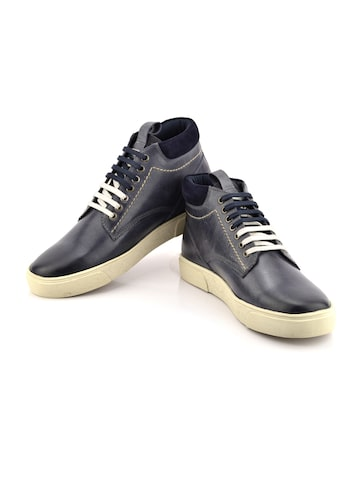 ID Men Navy Blue Leather Sneakers ID Casual Shoes at myntra