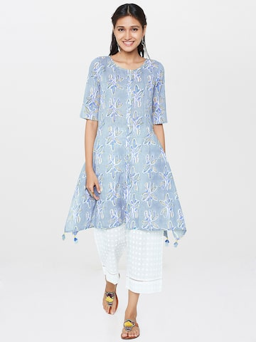 Global Desi Grey & Blue Printed Tunic Global Desi Tunics at myntra