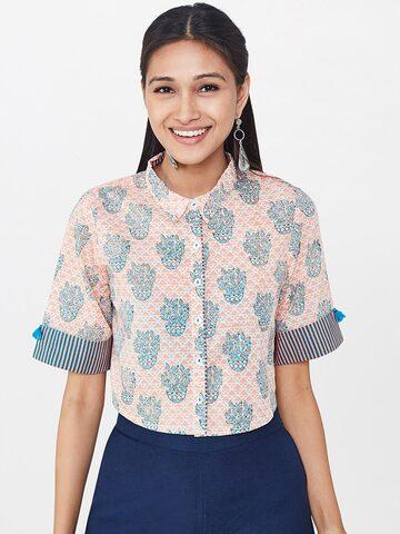 Global Desi Women Peach-Coloured Regular Fit Printed Casual Crop Shirt Global Desi Shirts at myntra