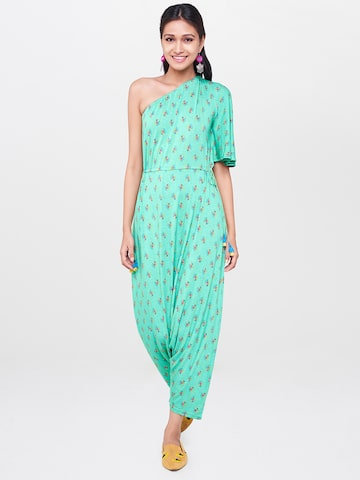 Global Desi Green Printed One-Shoulder Basic Jumpsuit Global Desi Jumpsuit at myntra