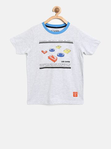 Lee Cooper Boys Grey Melange Printed Round Neck T-shirt Lee Cooper Tshirts at myntra