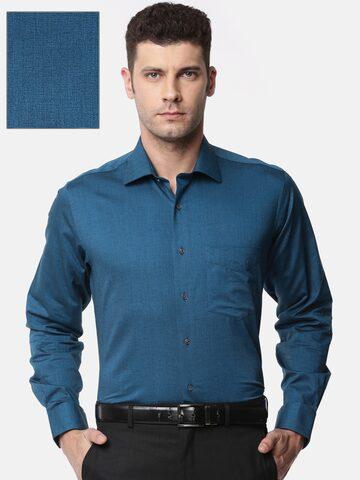 Van Heusen Men Blue Custom Slim Fit Solid Formal Shirt Van Heusen Shirts at myntra