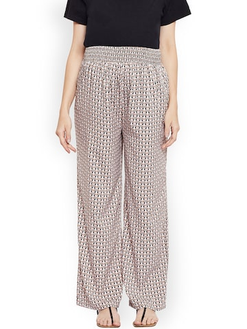 Oxolloxo Women Beige Relaxed Straight Fit Printed Maternity Trousers Oxolloxo Trousers at myntra