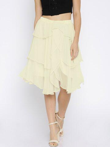 Avirate Women Cream-Coloured Layered Flared Skirt at myntra