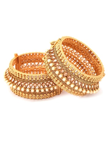 Rubans Set of 2 Gold-Toned Stone-Studded Bangles Rubans Bangle at myntra
