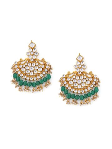 Rubans Gold-Toned & Green Contemporary Chandbalis Rubans Earrings at myntra
