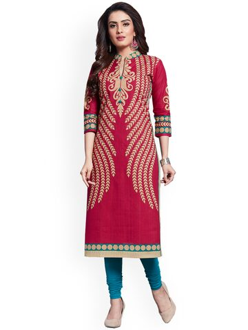Ishin Magenta Pure Cotton Unstitched Dress Material Ishin Dress Material at myntra