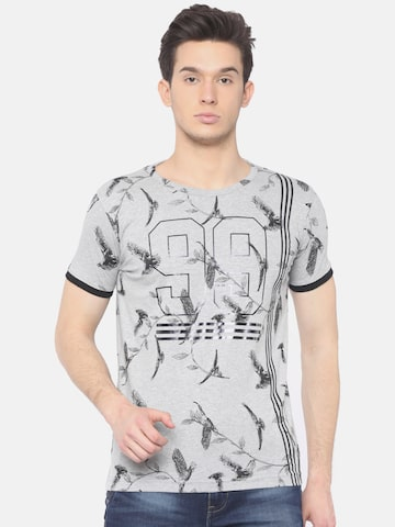 Scullers Sport Men Grey Melange Printed Slim Fit Round Neck T-shirt Scullers Sport Tshirts at myntra