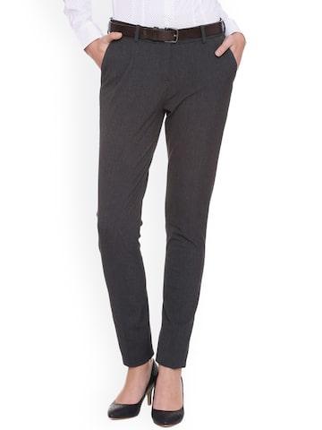 Van Heusen Woman Women Grey Regular Fit Solid Formal Trousers Van Heusen Woman Trousers at myntra
