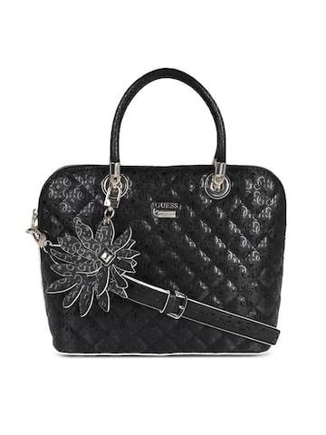 GUESS Black Textured Leather Handheld Bag GUESS Handbags at myntra