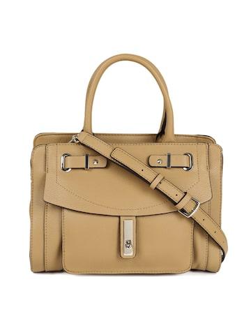 GUESS Brown Solid Leather Handheld Bag GUESS Handbags at myntra