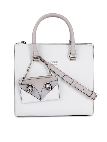 GUESS White Solid Leather Handhel Bag GUESS Handbags at myntra