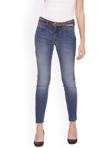 Van Heusen Woman Women Blue Slim Fit Mid-Rise Clean Look Stretchable Jeans Van Heusen Woman Jeans at myntra
