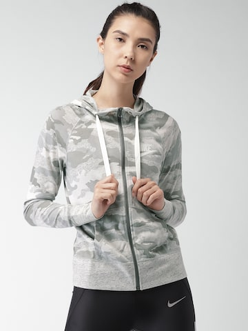 Nike Grey & Off-White Camouflage Printed AS NSW GYM VNTG HOODIE FZ CA Jacket Nike Jackets at myntra