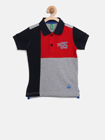 United Colors of Benetton Boys Grey Melange & Red Colourblocked Polo Collar T-shirt United Colors of Benetton Tshirts at myntra