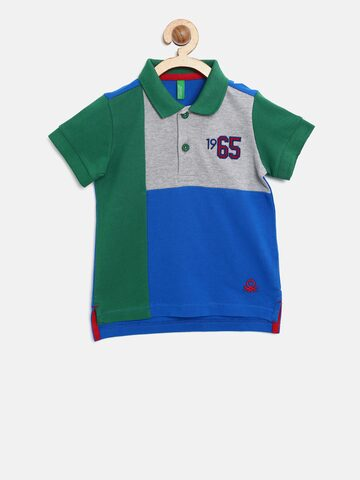 United Colors of Benetton Boys Green & Blue Colourblocked Polo Collar T-shirt United Colors of Benetton Tshirts at myntra