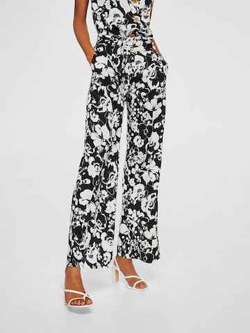 MANGO Women Black & White Printed Parallel Trousers MANGO Trousers at myntra