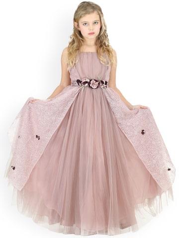 CUTECUMBER Girls Pink Solid Maxi Dress CUTECUMBER Dresses at myntra